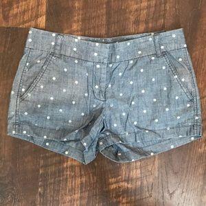 J. Crew Cotton Chino Chambray Polka Dot Shorts